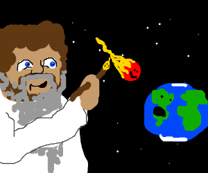 God Ross paints a happy asteroid getting earth