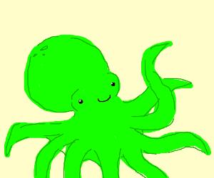 Happy Green Octopus