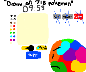 Multicolored guy has trouble using drawception