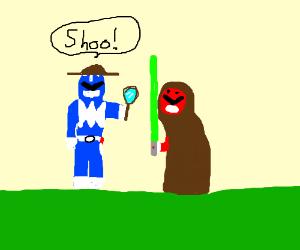 Detective Blue Ranger shoos Jedi Rangers away
