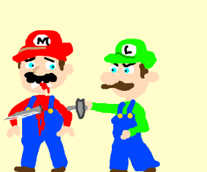 Luigi stabbed Mario in the back