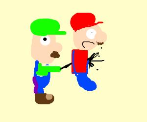 Luigi backstabs Mario through his heart