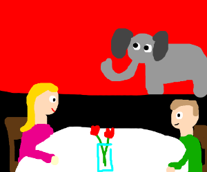 People on a date ignore elephant in the room.