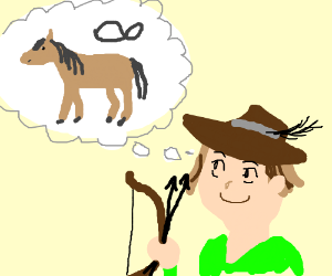robin hood thinking about horses