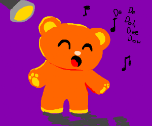 Cute orange bear singing dededahdeedoh bow tie