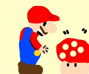 Mario and a red mushroom