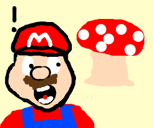 Mario surprised at a mushroom