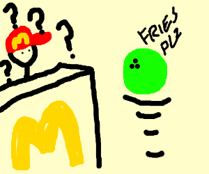 fast food man confused by bowling ball
