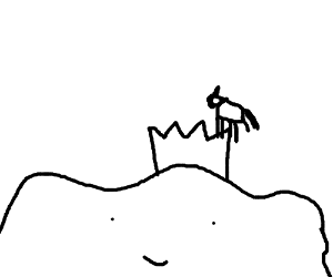 king blob with a unicorn impaled on its crown