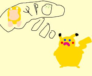 Pikachu wants Psyduck l'orange for supper