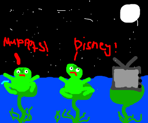 Two frogs disagree on what to watch
