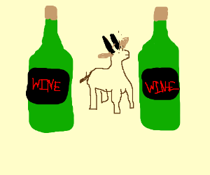 a very small antelope between wine bottles