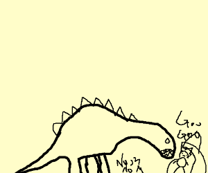 A dinosaur preparing to eat a delicious baby