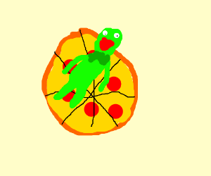 Frog on pizza
