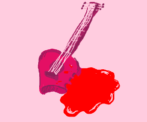 Blood-filled guitar has a bite taken out of it
