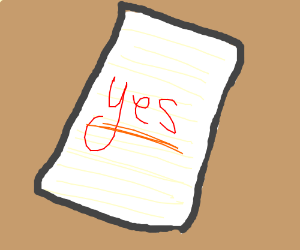 """""""Yes"""" Underlined."""