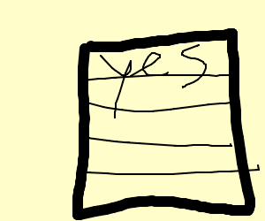 yes written on lined paper