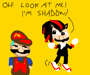 Luigi dresses as Shadow Hedgehog; annoys Mario