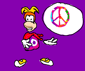 Rayman giving a speech about peace