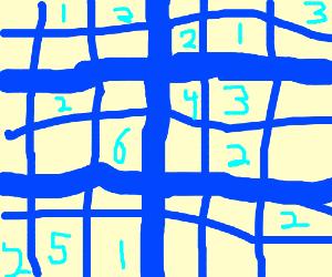 Blue 6x6 sudoku grid