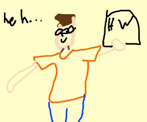 Nerd, brown hair, orange shirt