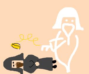 Ghost samurai tosses coins at his dead body