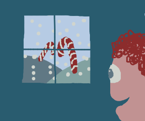 Child stares at peppermint land through window