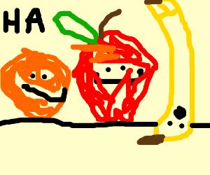 orange and apple make fun of upsidedown banana