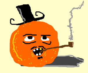 creepy orange with hat and tabacco pipe