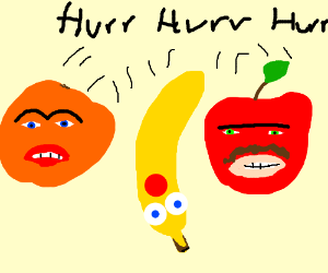 Annoying Orange laughing with Apple and Banana