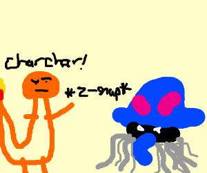 A fierce charmander encountered a tentacool.