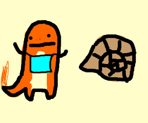possible char-pokemon with a bib, helix fossil