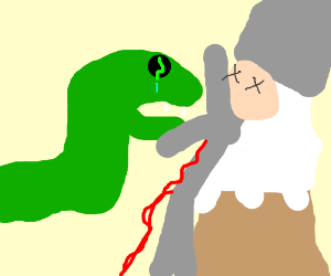 snake mourns cook on snowy mountain