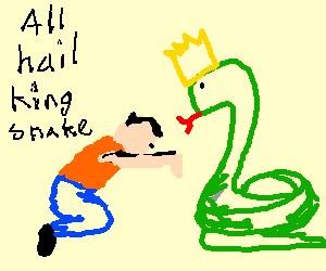 Man worships king snake