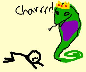 Man hails the king snake.