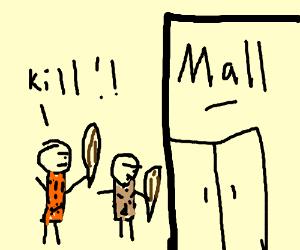 cavemen invade the mall
