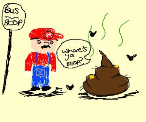 Mario standing by poop