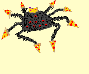 king spider eats delicious pizza