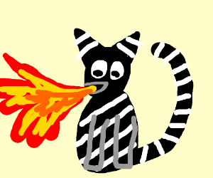 striped emo cat breathing fire