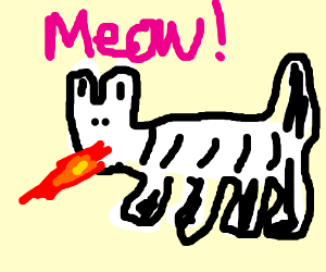 A black and white striped cat breathing fire