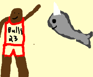 Michael Jordan hanging out with a whaleicorn