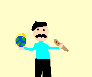 Frenchman holding a globe and eating a baguete