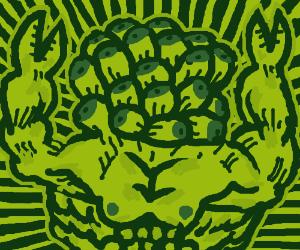 Boob face claw hands hulk man