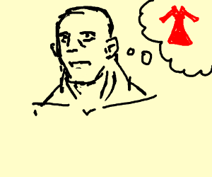 bulky necked man thinks of red dress