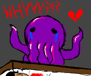 Octopus on human's partner funeral