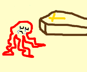 octopus is mourning in front of a coffin
