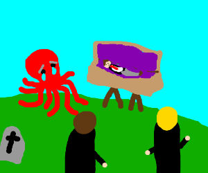 Sad red octopus cries at funeral