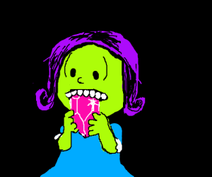 Zombie Lucy van Pelt eats a giant pink ruby