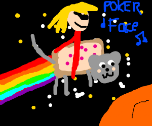 Lady Gaga rides Nyan Cat in Space