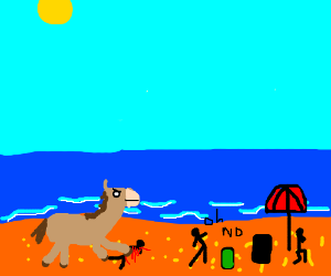 Giant horse steps on people at the beach